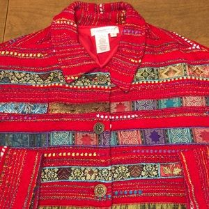 COLDWATER CREEK Red Embroidered Jacket Blazer L